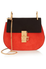 Drew small leather and suede shoulder bag