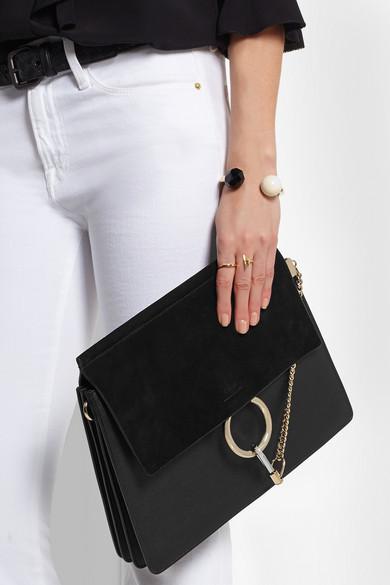 Chlo¨¦ | Faye medium suede and leather shoulder bag | NET-A-PORTER.COM