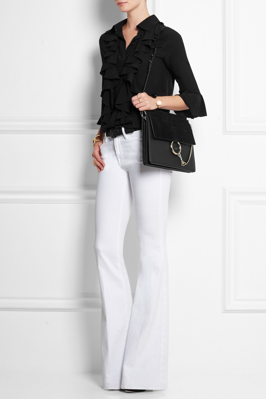 Chloé Sac porté épaule en daim et cuir Faye Medium