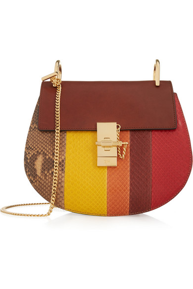 Chloé - Drew Small Python And Leather Shoulder Bag - Claret