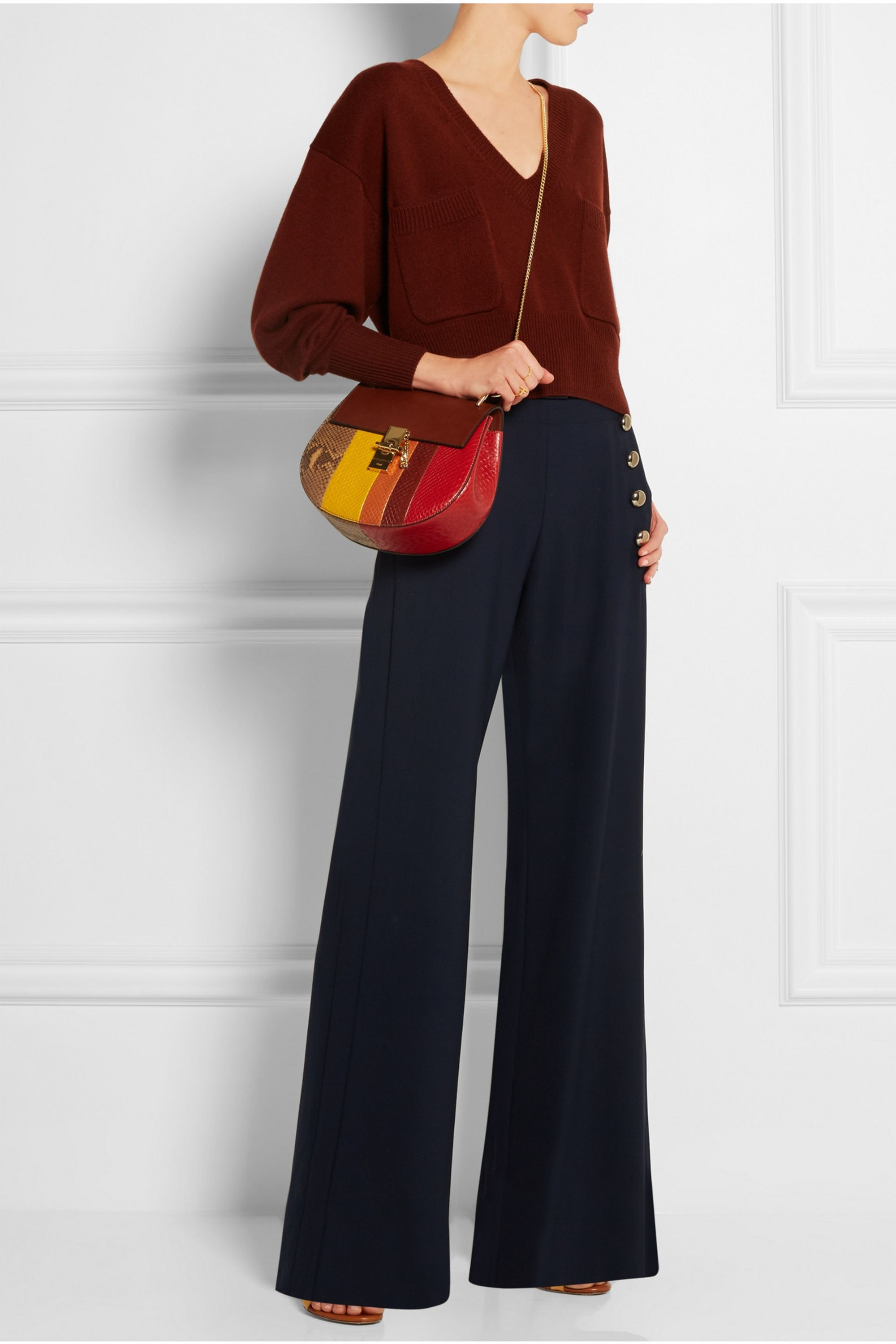 Chloé Drew small python and leather shoulder bag