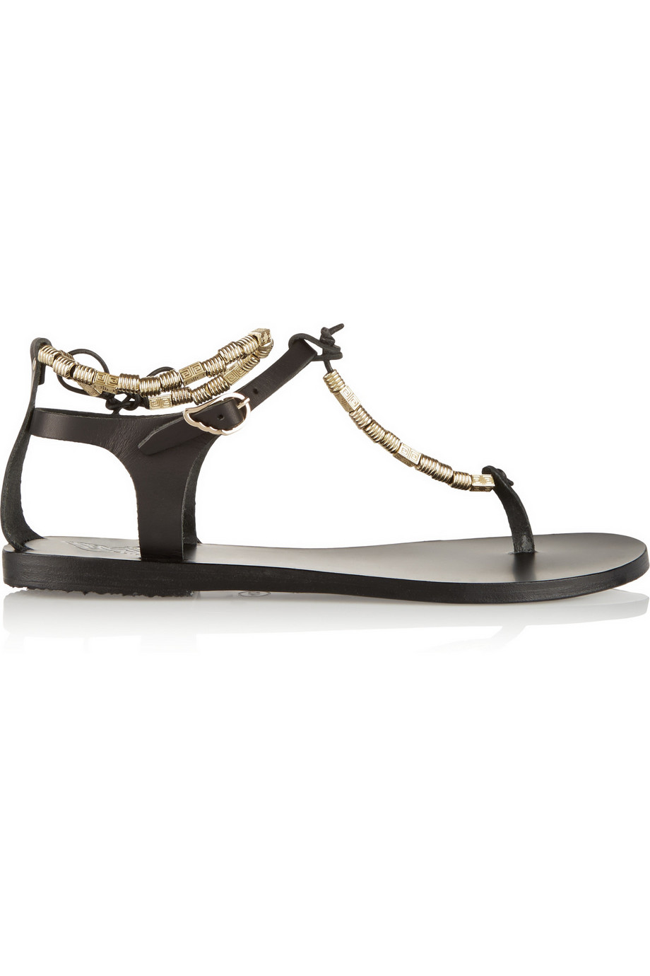 Chrysso Beaded Leather Sandals, Ancient Greek Sandals, Black, Women's US Size: 4.5, Size: 35