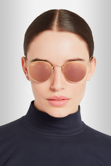 Ray-Ban Round-frame gold-tone mirrored sunglasses NET ...