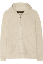 Plated cashmere hooded top