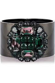 Ruthenium-plated Swarovski crystal cuff