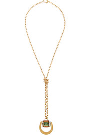 Gucci Gold-plated Swarovski crystal horsebit necklace