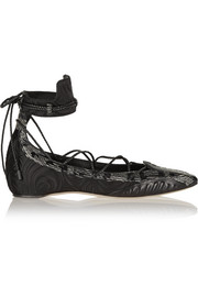 Musa satin, leather and elaphe point-toe flats