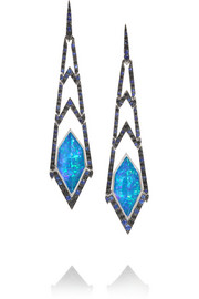Lady Stardust 18-karat white gold multi-stone earrings