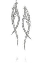 Thorn Stem 18-karat white gold diamond earrings