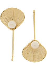 Profondo gold-tone pearl hair slides