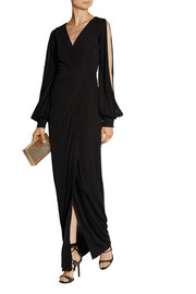 Haney The Quinn cutout wrap-effect stretch-jersey gown