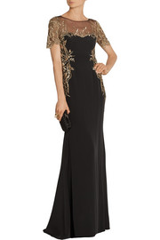 Embroidered tulle and silk-crepe gown