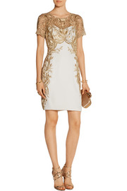 Embroidered tulle and silk-crepe mini dress