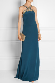 Embellished silk-crepe gown