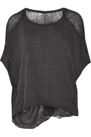 Shredded cotton-blend jersey top