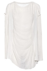 Raquel Allegra Chrysalis shredded cotton-blend jersey top