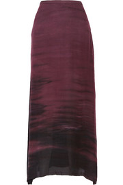 Sunset tie-dyed washed-silk crepe maxi skirt