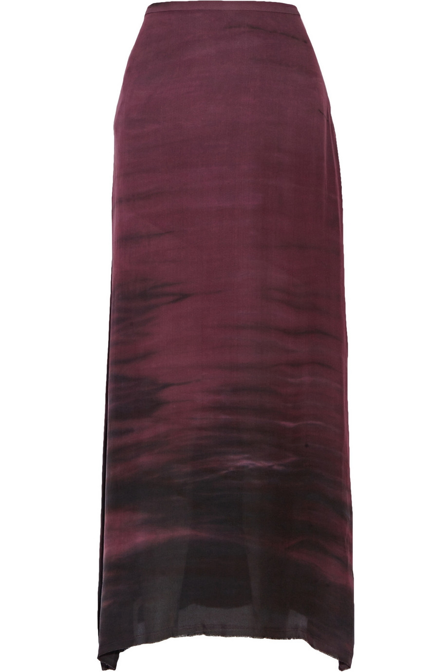 Raquel Allegra Sunset Tie-Dyed Washed-Silk Crepe Maxi Skirt, Plum, Women's, Size: 1