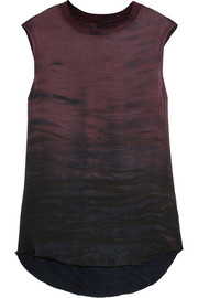 Tie-dyed silk-chiffon and jersey top