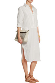 Pleated linen shirt dress
