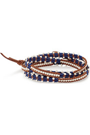 Chan Luu Silver beaded and leather wrap bracelet