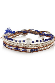 Chan Luu Set of three silver and lapis beaded bracelets