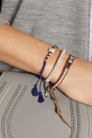 Set of three silver and lapis beaded bracelets
