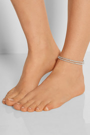 Silver beaded wrap anklet