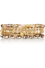 Set of five gold-plated, bone and mother-of-pearl beaded bracelets