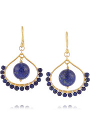 Gold-plated lapis earrings