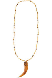 Chan Luu Gold-plated, bone, mother-of-pearl and jasper necklace
