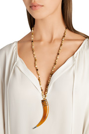 Gold-plated, bone, mother-of-pearl and jasper necklace