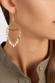Gold-plated, bead and opal earrings