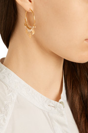 Gold-plated beaded hoop earrings