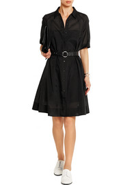 Embroidered wool-blend gauze dress