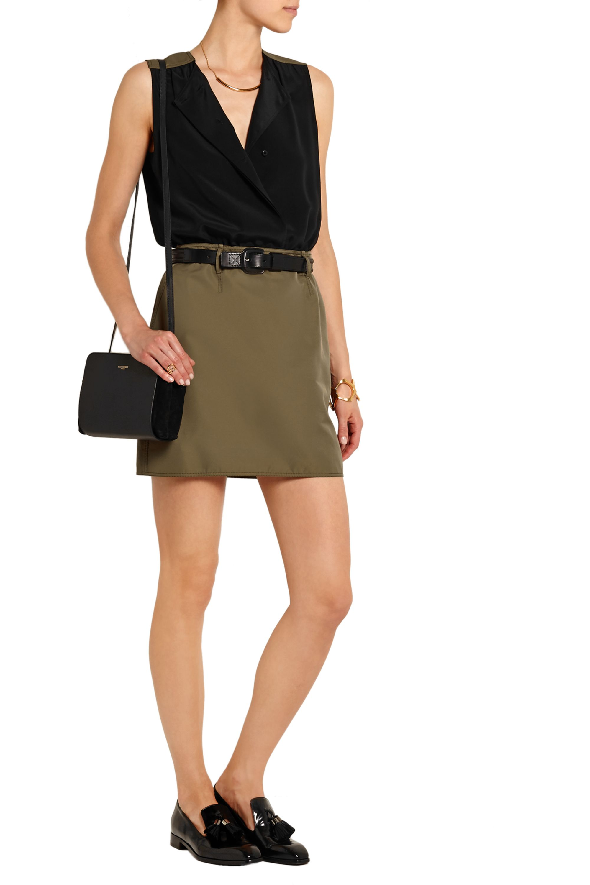 Victoria, Victoria Beckham Belted washed-silk and twill mini dress