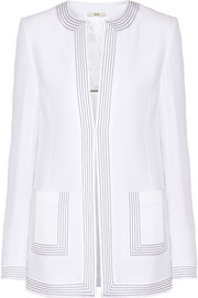 Embroidered satin-crepe jacket