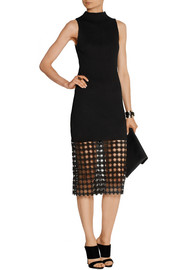Ribbed stretch-knit and guipure lace midi dress