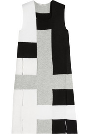 Cutout color-block wool tunic
