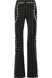 Embellished pinstriped wool flared pants