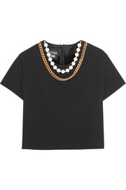 Cropped embellished crepe top