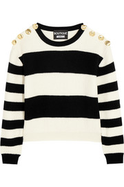 Cropped striped ribbed wool sweater