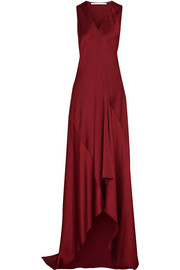 Asymmetric hammered-satin gown