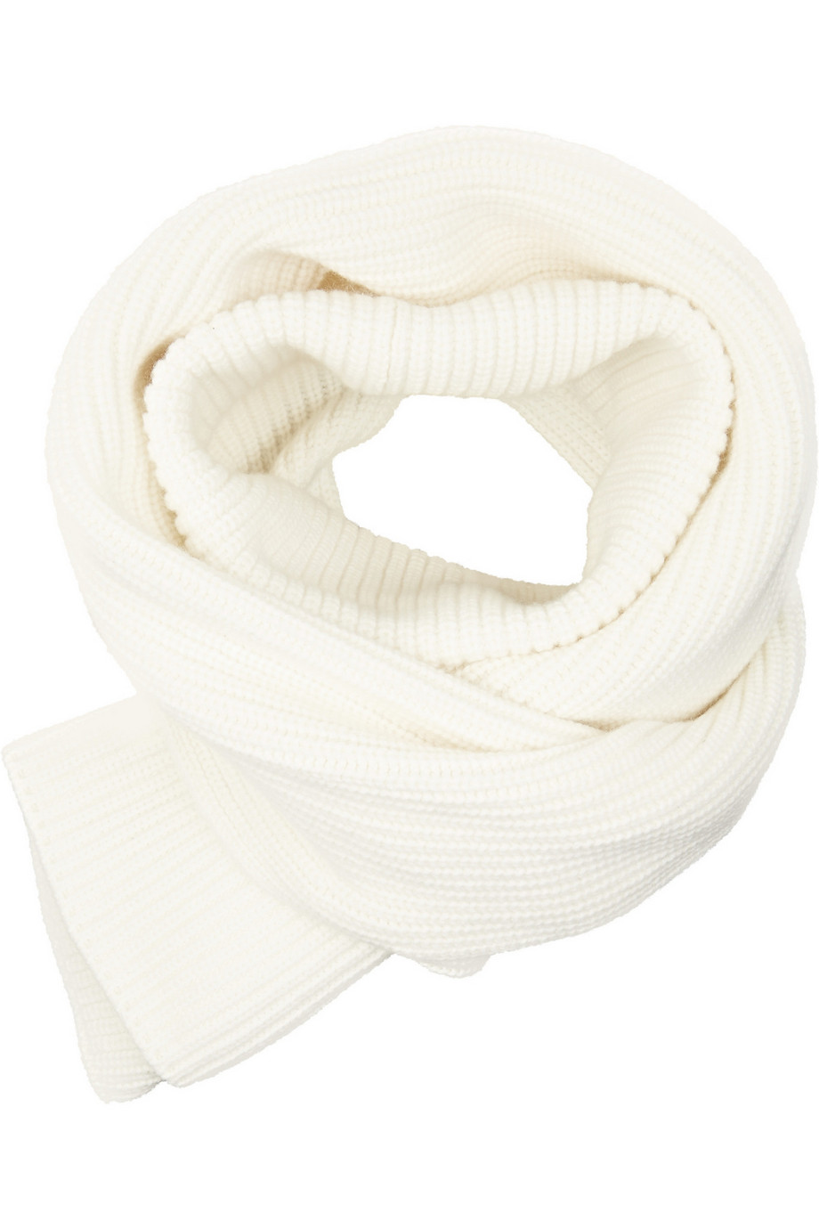 Rosetta Getty Ribbed Wool and Cashmere-Blend Scarf, White, Women's, Size: One size