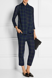 Cropped plaid wool-gauze pants