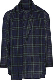 Draped plaid wool-gauze top