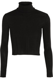 Cropped cotton-jersey turtleneck top