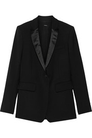 Adam Lippes Silk satin-trimmed wool-blend blazer