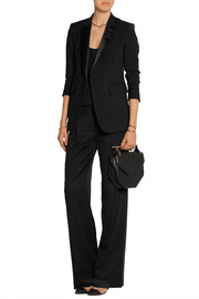 Silk satin-trimmed wool-blend blazer