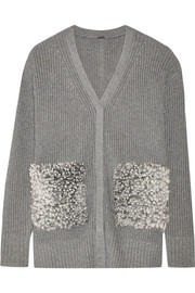 Shearling-paneled cotton, cashmere and silk-blend cardigan